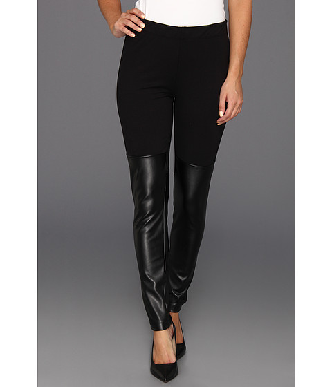 Pantaloni DKNY - Legging w/ Faux Leather Front Panel - Black 3