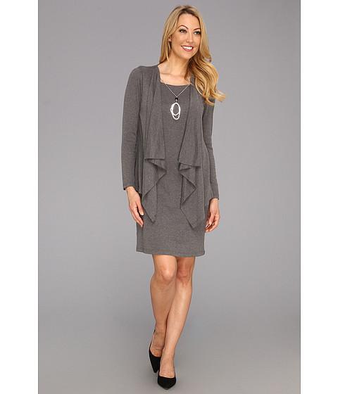 Rochii Jessica Howard - Mock 2-Piece Drape Jacket Dress w/Necklace - Grey