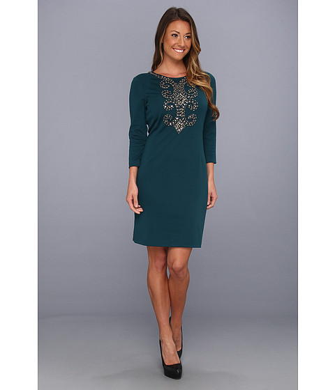 Rochii Ellen Tracy - Sleeved Ponte with Embellishment - Teal