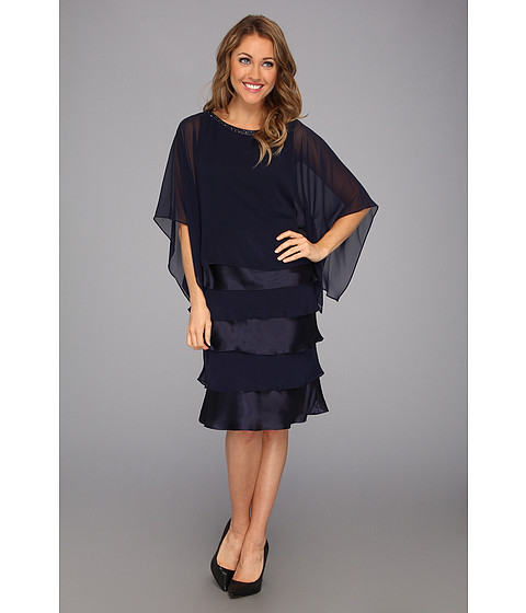 Rochii Jessica Howard - Three-Quarter Sleeve Beaded Popover Dress w/Shutter Pleat - Navy
