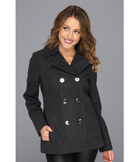 Jachete Kenneth Cole - Double Breasted Button Front Peacoat w/Notch Collar - Graphite