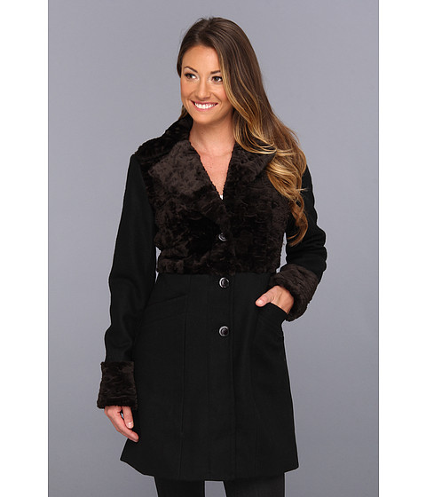 Jachete Kenneth Cole - Single Breasted Button Front Coat - Black