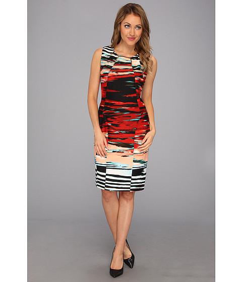 Rochii Calvin Klein - Print Seamed Dress - Tango/Capri Multi
