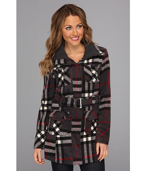 Geci dollhouse - Nanette Plaid Belted Oversized Knit Jacket - Grey/Black