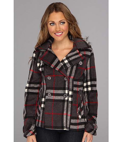 Geci dollhouse - Nanette Plaid Wool Peacoat - Grey/Black