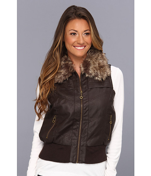 Geci dollhouse - PU Vest with Detachable Faux Fur Collar and Side Zips - Coffee