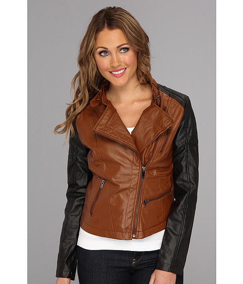 Geci dollhouse - Two Tone PU Jacket - Toffee/Black