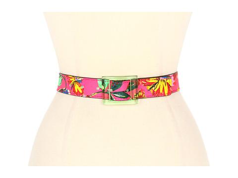 Curele Kate Spade New York - Reversible Printed Trouser Belt - Bazooka Pink Floral/Shamrock