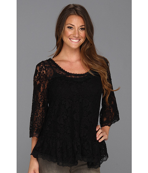 Bluze Free People - Scallop Lace Top - Black