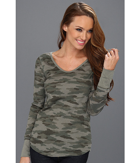 Bluze Free People - Desperate Printed Thermal - HUNTER GREEN CAMO
