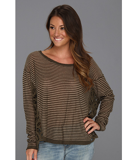 Bluze Free People - Striped Love Me Do Pullover - Army/Taupe