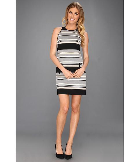 Rochii Laundry by Shelli Segal - Racer Back Striped Ponte Dress - Black Multi