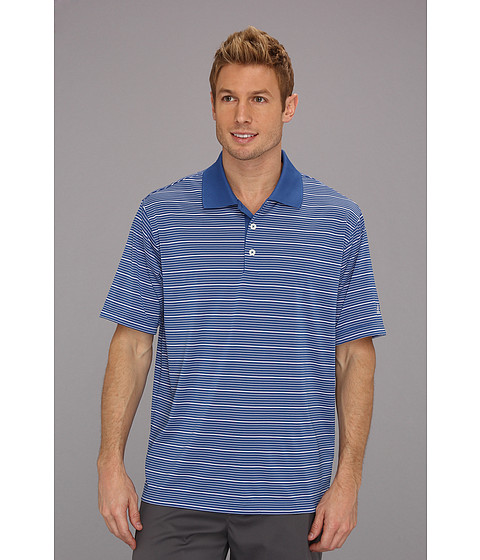 Tricouri adidas - ClimaLite® Two-Color Stripe Polo - Ultramarine/White
