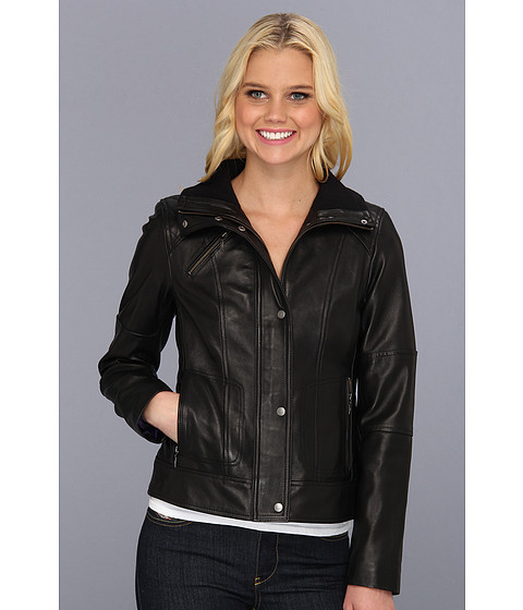 Jachete Cole Haan - Lambskin Jacket w/ Dimond Quilt - Black