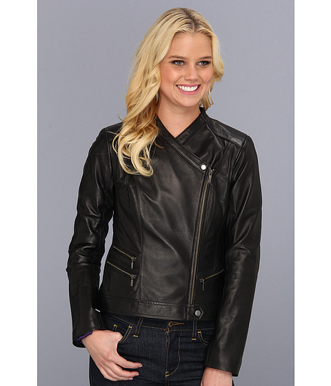 Jachete Cole Haan - Smooth Lambskin Asymmetrical Moto Jacket - Black
