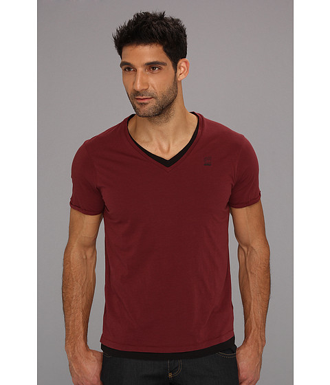 Tricouri G-Star - Correct Roy V-Neck S/S Tee - Bright Oxblood