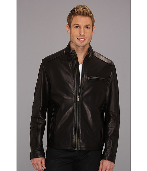 Jachete Cole Haan - Smooth Lamb Clean Moto Jacket - Black