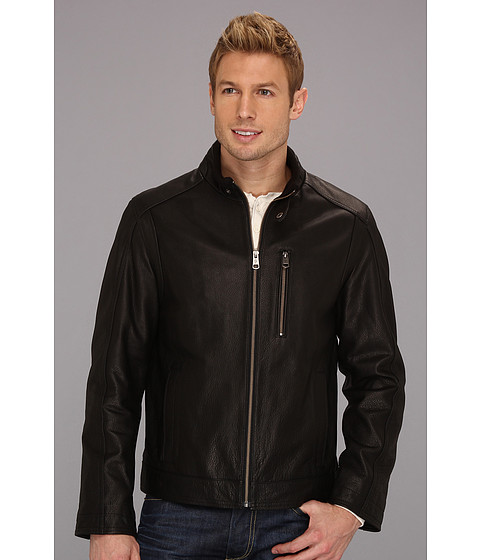 Jachete Cole Haan - Spanish Grainy Leather Moto Jacket w/ Knit Collar - Black