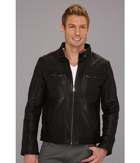 Jachete Cole Haan - Washed Lamb Moto Jacket w/ Chest Pockets - Black