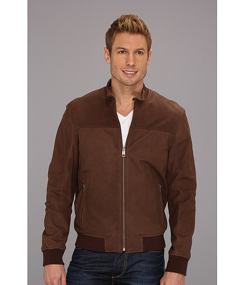 Jachete Cole Haan - Washed Italian Nubuck Baseball Jacket - Brown