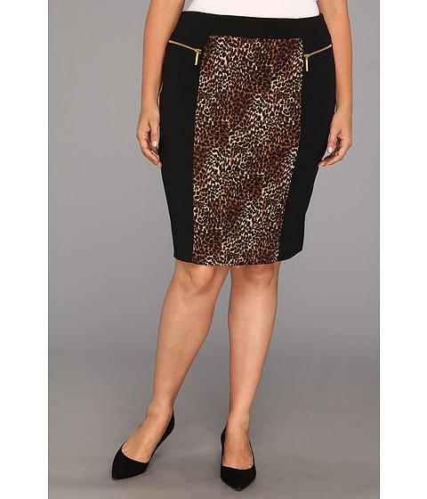 Fuste MICHAEL Michael Kors - Plus Size Zip Ponte Combo Skirt - Toffee