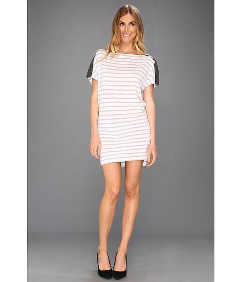 Rochii Michael Stars - Stripe Dolman Leather Shoulder Dress - Heather Grey
