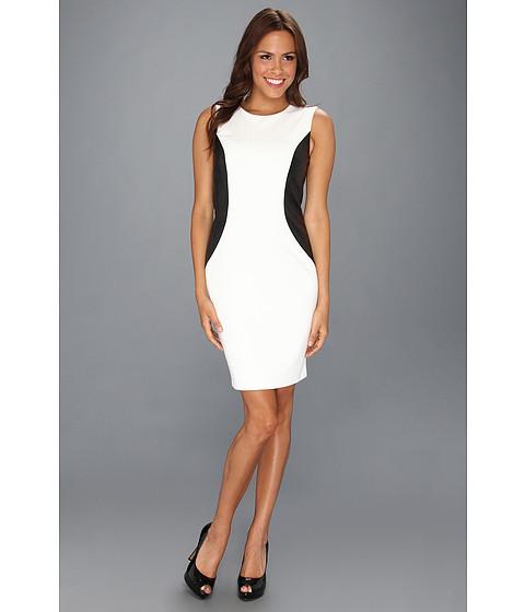 Rochii Calvin Klein - Ponte Sleeveless Sheath Dress - Ivory/Black