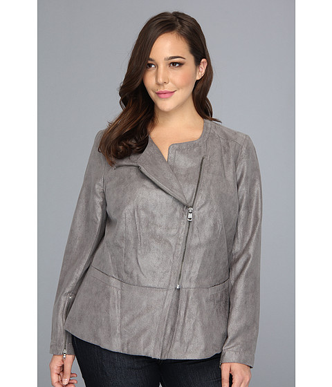 Sacouri DKNY - Plus Size Faux Suede And Foil Drapey Jacket - Grey