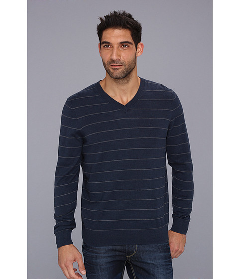 Bluze Nautica - 12 Gauge Stripe V-Neck Sweater - Cadet Heather