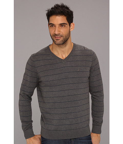Bluze Nautica - 12 Gauge Stripe V-Neck Sweater - Graphite Heather