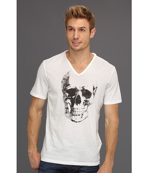 Tricouri John Varvatos - Reverse Spray Skull V-Neck Graphic Tee - Salt