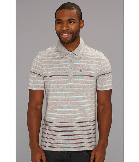Tricouri Original Penguin - Stripe Polo w/ Engineered Hem - Rain Heather