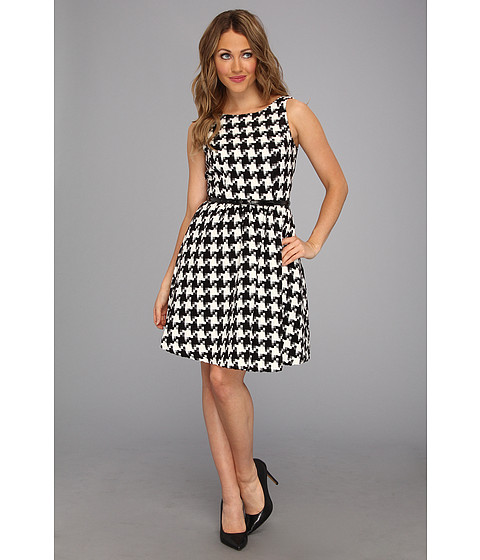 Rochii Jessica Simpson - Tank Dress in Black and White Houndstooth Boucle - Black/White