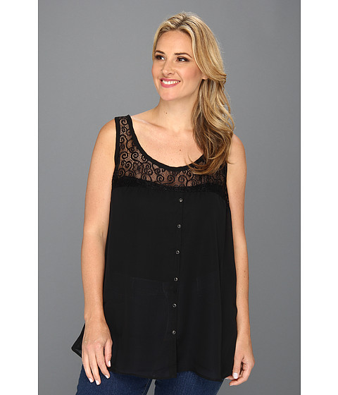 Bluze Roper - Plus Size 8685 Georgette Racer Back Tank - Black