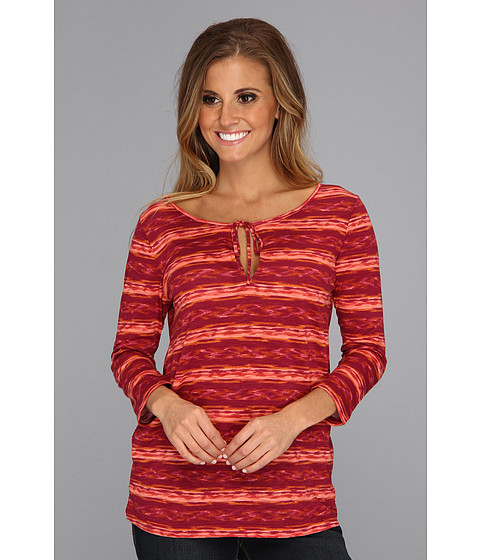 Bluze Lucky Brand - 3/4 Sleeve Amber Stripe Keyhole Top - Red Multi