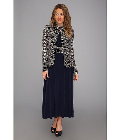 Rochii Jessica Howard - Three-Quarter Sleeve Mandarin Collar Jacket Dress - Navy