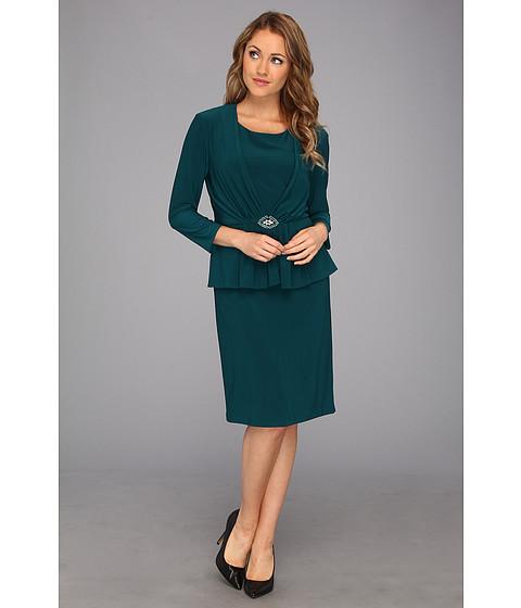 Rochii Jessica Howard - Three-Quarter Sleeve Roused Front Peplum Dress w/Broach - Teal
