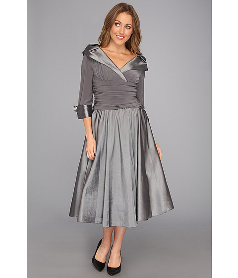 Rochii Jessica Howard - Three-Quarter Sleeve Roushed Waist w/Full Skirt Dress - Silver/Grey
