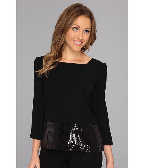 Bluze Nine West - Crepe Square Neck Top with Sequins - Black