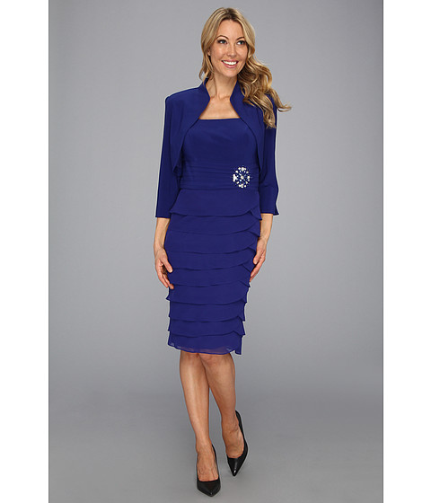 Rochii Jessica Howard - 2-Piece Bolero Jacket Dress with Laser Cut Skirt - Royal