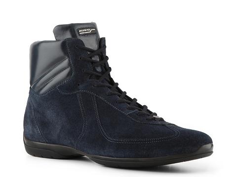 Pantofi Santoni - Suede Hi-Top Sneaker - Dark Navy