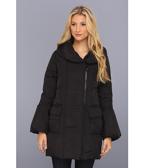Jachete Betsey Johnson - Asymmetrical Down Coat with Pillow Collar - Black