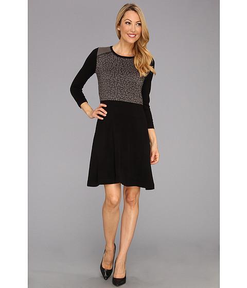Rochii Nine West - Leopard Front Dress w/ Flared Sleeves - Black Combo