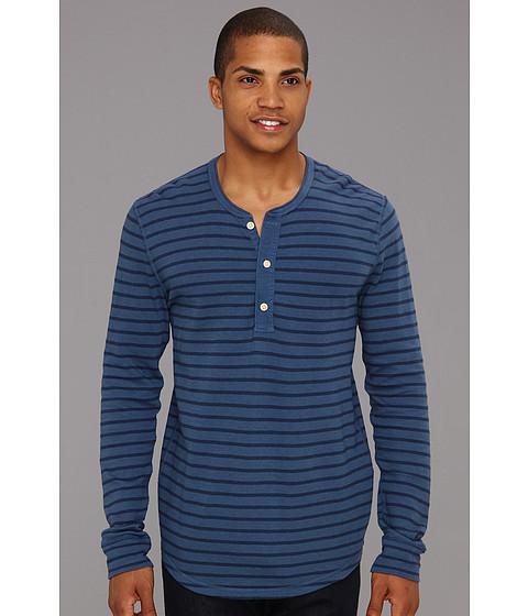 Bluze Lucky Brand - Striped Double Knit L/S Henley - Vintage Indigo Stripe