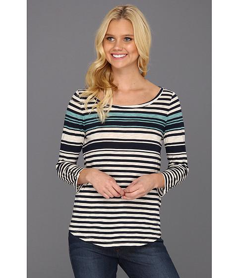 Bluze Lucky Brand - Annabel Heathered Stripe Tee - Blue Multi