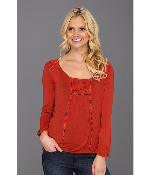 Bluze Lucky Brand - Cailey Cut Out Top - Vintage Rust