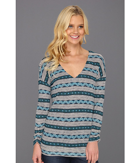 Bluze Lucky Brand - Daphne Wood Block Top - Blue Multi