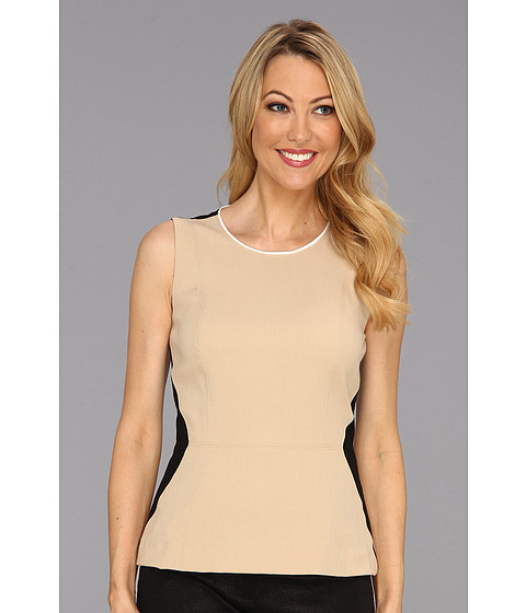 Tricouri Calvin Klein - Peplum Top with Contrast Side Panels - Tan Combo