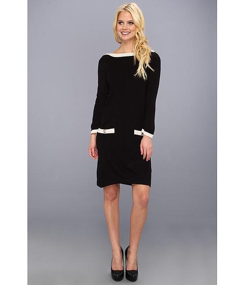 Rochii Nine West - Boatneck Tunic Dress w/ Pockets - Black/Ivory
