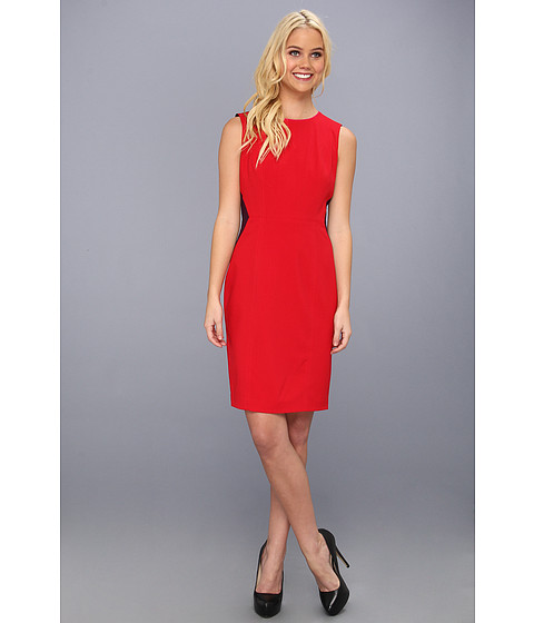 Rochii Calvin Klein - Dress with Contrast Side Panels - Red/Aubergine 1